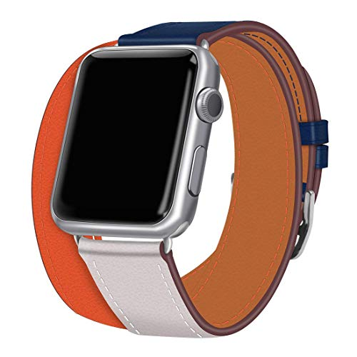 coholl iwatch 42mm/44mm Leather Band,Single Tour Men Women Loop Leather Replacement Wristband Compatible with Apple Watch Series 4/3/2 38mm 40mm (Indigo/Ivory/Orange Band+Silver Buckle, 38/40)