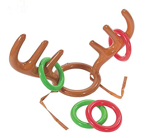 Christmas Hats - 100pcs Inflatable Kid Children Fun Christmas Toy Toss Game Reindeer Antler Hat With Rings Hats - England Toddler In Are Purple Naruto Ugly Children Hat Rudolph -