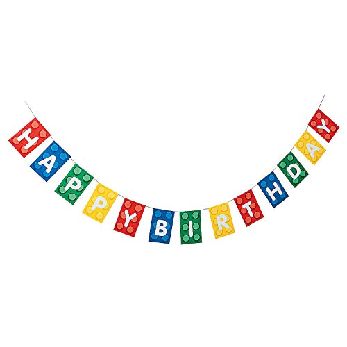 Fun Express Blocks Brick Party Happy Birthday Banner - Paper. 7 ft. -