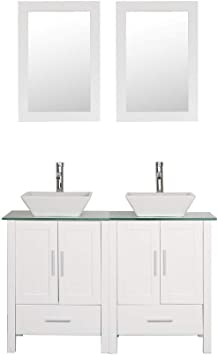 48 Double Sink Bathroom Vanity Cabinet Glass Marble Top White Wood W Mirror Faucet And Drain Mdf Amazon Com