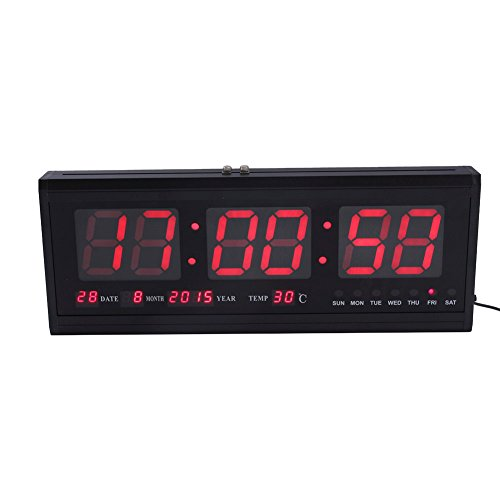 Digital LED Calendar Clock,Large Wall Modern Clock Timer with Calendar Temperature for Living Room, Office and Meeting Room without Alarm Function,Red