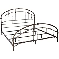 Ashley Furniture Signature Design - Nashburg Metal Headboard and Footboard with Rails - King Size - Vintage Casual - Bronze Finish