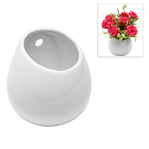Wall Hangings White - MyGift White Petite Wall Mounted, Hanging or Freestanding Decorative Ceramic Flower Planter Vase Holder Display