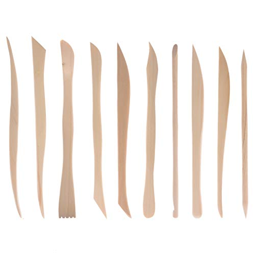 Feeko Pottery Tools, 10pcs Wooden Handle Clay Pottery Engraving Tools to Play Dough Modeling Wiping Tools