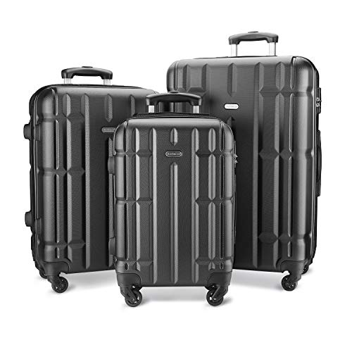 SHOWKOO Luggage Sets Suitcase Spinner Lightweight Durable for Travels 20in 24in 28in(Dark Grey)