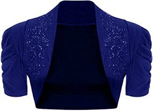 Ladies Plus Size Puff Sleeve Beaded Rouched Sleeve Bolero Shrug Cardigan (20/22, Royal Blue)