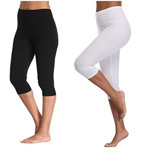 - Kotii Women's Lightweight Soft Capri Leggings Crop Leggings 3/4 Stretch Yoga Pants