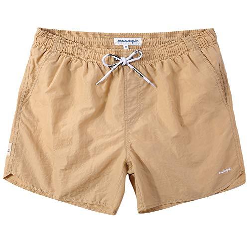 (MaaMgic Mens Boys Short Solid Swim Trunks with Mesh Lining Quick Dry Mens Bathing Suits Swim Shorts, Khaki)