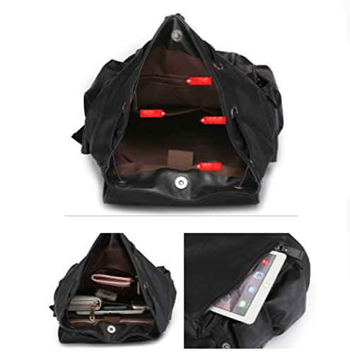 Ayer Bolso De Hombro Hombres Mochila Bolsa De Viaje De La Computadora Bolsa De Moda PU Bolso De Cuero Black