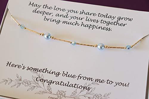 - Gold Something Blue Bride Gift Anklet Blue Pearl Anklet Wedding