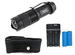 TETC Mini 7W 300LM Led Flashlight Torch Adjustable Focus Zoom Light + Two 1200 mAh 14500 Batteries + dual Charger+flashlight Holster by TETC