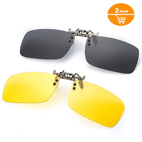 Clip on Sunglasses for Prescription Glasses, Flip up Rimless Anti Glare Night Vision lens for Driving Fishing, 2 PACK (Yellow Lens for Night+Grey Polarized Lens for Day)