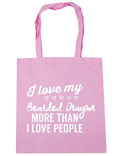 HippoWarehouse I love my bearded dragon more than I love people Tote Shopping Gym Beach Bag 42cm x38cm, 10 litres Classic Pink