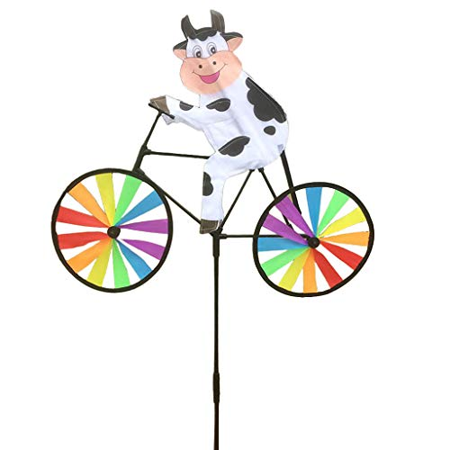 - EA-STONE Bullfrog/Bee / Rabbit/Ladybug / Tiger/Duck / Tortoise on Bike Windmill,Spinning Windmill Children's Outdoor Toys Home Window Garden Yard Decoration (6# Cow)