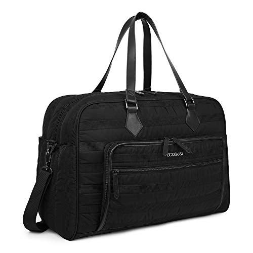 (ECOSUSI Weekender Bag Travel Duffle Bag Overnight Bag Carry-on with Trolley Sleeve Fit up to 15.6 Inch Laptop for Women, Black)