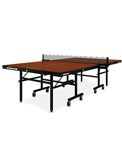 Killerspin MyT5 Folding Ping Pong Table  Adjustable Indoor Table Tennis Table with Storage Pockets for Home or Office  Tournament Quality Construction, Ittf Standard  Mocha