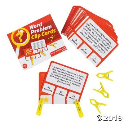 Fun Express Word Problem Clip Cards - 3Rd Grade - 55 Pieces - Educational and Learning Activities for Kids: Toys & Games