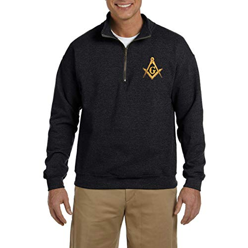 - Square & Compass Embroidered Masonic Men's Quarter-Zip Sweatshirt - [Black][Medium]