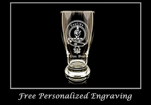 Clan Boyd Scottish Crest Pint Glass- Free Personalized Engraving, Family Crest, Pub Glass, Beer Glass, Custom Beer Glass