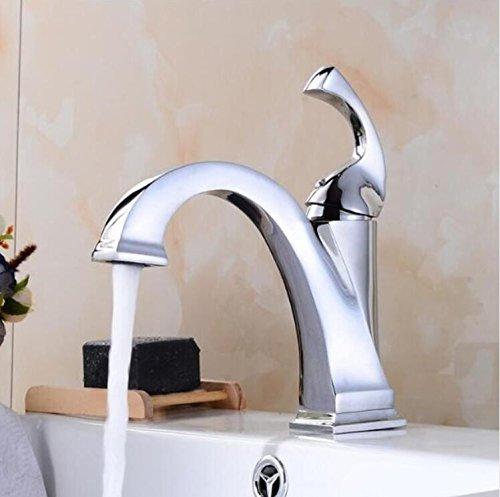 Aawang Messing Öl Eingerieben Bronze Schwarz Deck Mount Bad Armatur Waschtisch Waschbecken Mischbatterie Gefäß Mit Kaltem Und Heißem Wasser Chrom