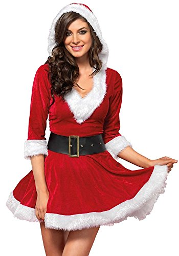 Cuteshower Christmas Women Costume Sexy Outfit Dress Santa Claus Cosplay Clothing