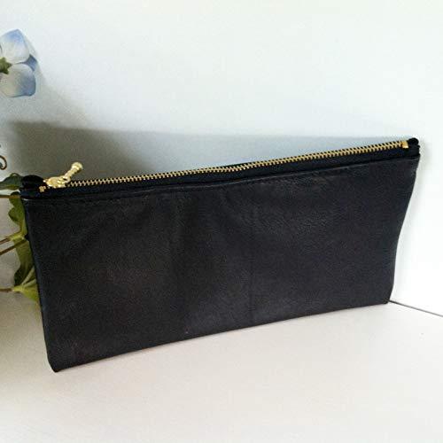 Black Lambskin Leather Clutch_Handmade ()