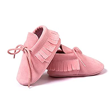 CoKate Infant Baby Girls Premium Soft Sole Moccasins Tassels Prewalker Anti-Slip Toddler Shoes