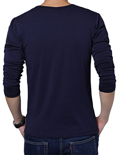 Men's Casual Slim Fit Contrast Block Stitching Striped Crew Neck Long Sleeve T shirt (S, navy)