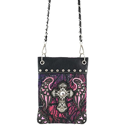 Messenger Crossbody Bling Branches Justin Buckle Rhinestone Camouflage Tree Purple Cross West Cross Purse Wings Chain and IqIPwzT