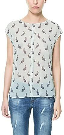 Zara de Color Blanco/diseño de para Camisas de Mujer y Pird diseño de pelícano en Color Crema de pájaro Blusa Camiseta de Talla: tamaño pequeño: Amazon.es: Ropa y accesorios