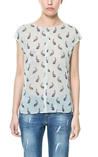 Zara de Color Blanco/diseño de para Camisas de Mujer y Pird diseño de pelícano