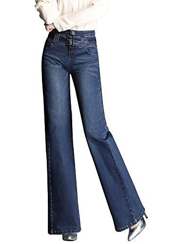 Gooket Women's Fashion Asymmetric Tassel Flared Slit Ripped Jeans Denim Pants