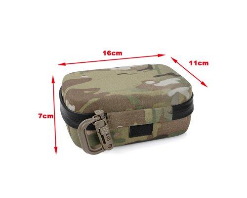 CLOVER POV 16cm x 11cm x 7cm 6'' Small EVA Full Set Travel Armoured Protective Shell Storage Case with Shock Absorbing Foam for GoPro Hero 3, Hero 3+, Hero 3 Plus, Hero 4 Camera - Multicam Camouflage
