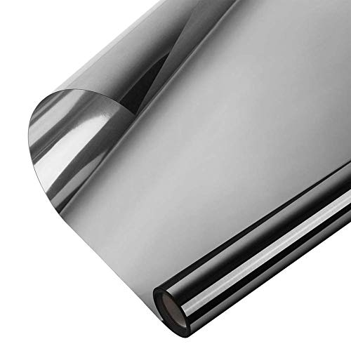 Window Heat Control Film Anti-UV One Way Mirror Film Privacy Static Glass Films Non-Adhesive Window Tint for Home and Office, 35.4 Inch x 6.56 Feet (Black-Silver) (Best Way To Remove Tint)