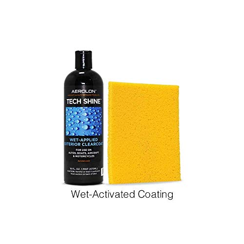 - Aerolon - Tech Shine - Fast Wet-Applied Coating - Polymeric Car Wax - Top Coat Polish and Sealer - One 5-Mins Application to Hydrophobic Shine and Protect All Exterior Car Surfaces - 16oz Bottle & Pad
