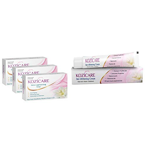 Kozicare Skin Lightening Kit 3 Soap + 1 Cream (for Lightening & Brightening Skin)