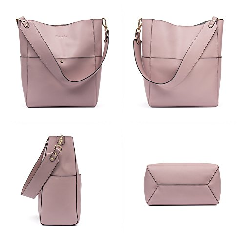 BOSTANTEN Women's Designer Purses Leather Handbags Designer Purses Ladies Tote Shoulder Vintage Bags Black Taro Pink