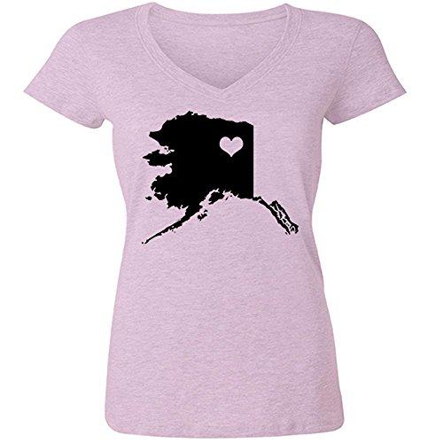 [STICKERSLUG Pale Pink Alaska State Love Womens V-Neck cotton graphic t-shirt, size small] (Alaska Womens Pink T-shirt)