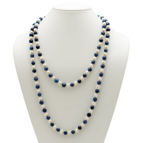 Palm Freshwater Necklace - Palm Beach Jewelry Round Genuine Navy Blue and White Cultured Freshwater Pearl Endless Necklace 48