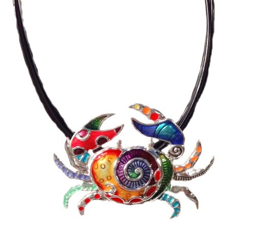 DianaL Boutique Gorgeous Large Crab Pendant and Necklace Enameled Hand Painted on Black Cord Gift Boxed Fashion - Crab Boutique