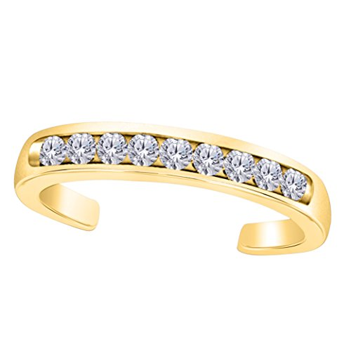 Women's Classic Toe Ring Channel Set Cubic Zirconia in 14k Yellow Gold Plated Sterling Silver ()