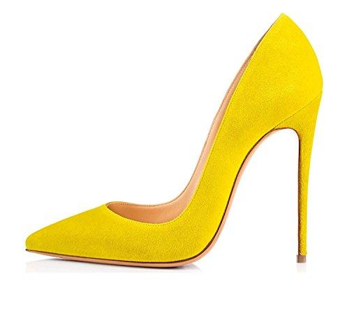 Aguzza Classica Tacchi A Pompe Alto S Spillo Tacco Donne giallo Scivolare Sul Scarpe Vestito Punta Delle Sammitop EAEnqd