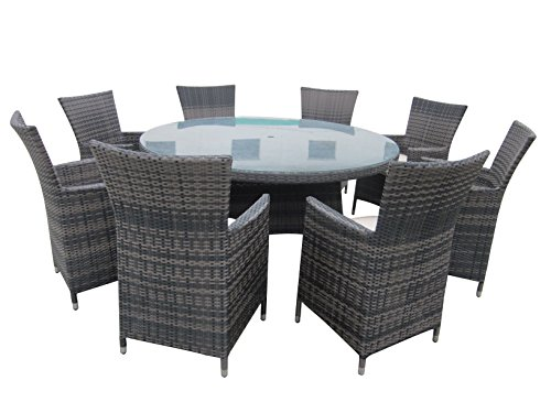 9 Piece Wicker Dining Sets, Patio Round Dining Set - Taupe (8 Seat Patio Table)