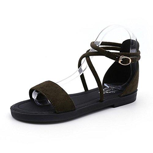 Hunzed {レディースサンダル}、ファッション{クロスストラップフラット靴} {バックルローヒールサンダル}レディースカジュアル{ Open Toe Wedge Shoes }
