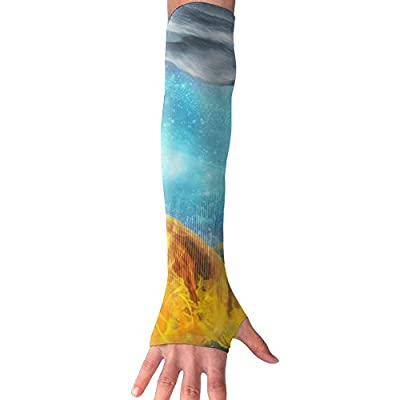 Wolf Battle Moon Unisex Half Finger Arm Sleeves Cover Glove Flexible Riding Equipment Fishing