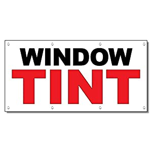 Window Tint Black Red Auto Car Repair Shop Vinyl Banner Sign With Grommets 3 Ft x 6 Ft
