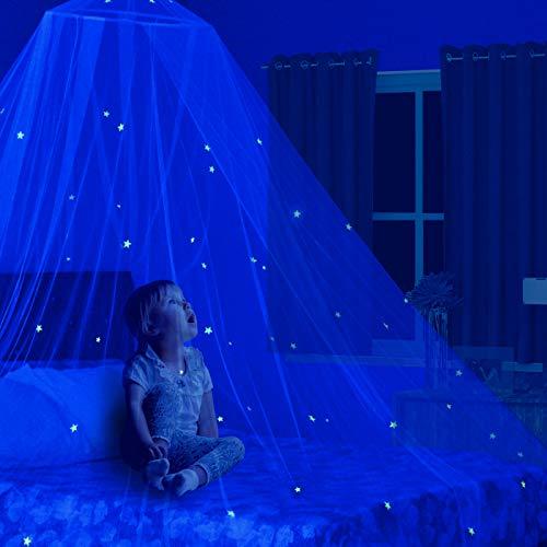 Stars Glow in the Dark Kids Bed Canopy Baby Crib Play Tent Fairy Light Stars Large Mosquito Net