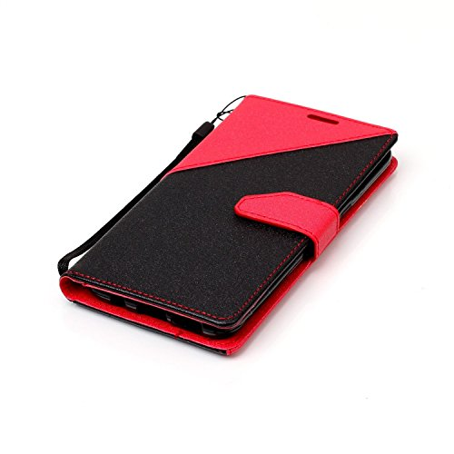Funda Samsung Galaxy S8,Funda Libro Suave PU Leather Cuero impresión- EMAXELERS Carcasa Con Flip case cover,Funda Galaxy S8 gofrado diseño afortunado del trébol Flip case cover,wallet Case para Galaxy B Hit Color:Red and Black