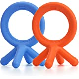 Comotomo Silicone Teether Bundle - 2 Items: Blue & Orange