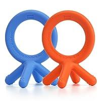 Comotomo Silicone Teether Bundle - 2 Items: Blue & Orange